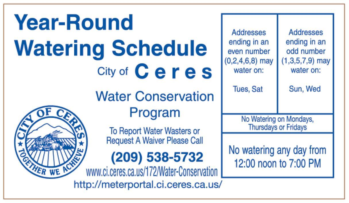 Ceres Water Schedule